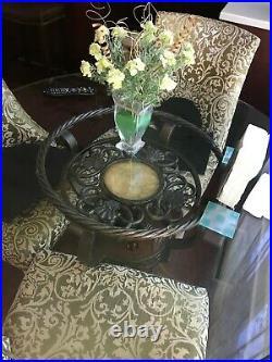CUSTOM MADE 45 DIAMETER DINING SET GLASS TOP TABLE WOOD & METAL BASE 4 chairs