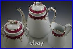 C. 1870 Haviland Old Wedding Band Teapot Biscuit Jar Pitcher Set Rope Red Antique