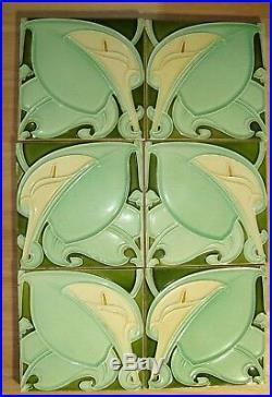 Calla flower tile gorgeous set of 6 Art Nouveau original period Majolica