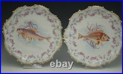 Coiffe Limoges Fish Service Set Of 6 Dinner Plates 9 Different Fish Antique