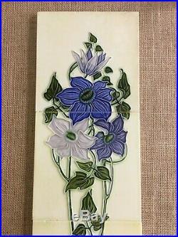 Collectible Japan vintage rare floral set antique art nouveau majolica tile 5pcs