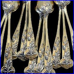 Debain French Sterling Silver 18k Gold Tea Moka Set, Tea spoons, Sugar Tong