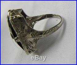 Dragonfly PSCO 14K White Gold Diamond set in Carved Onyz Art Nouveau Ring 5.75