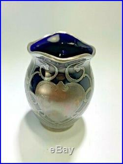 Elegant Lenox Antique Art Nouveau Cobalt Blue Sterling Silver Overlay Tea Set