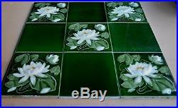 England Antique Art Nouveau Majolica 9-set Tile C1900