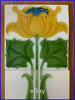 England rare floral 1set antique art nouveau majolica tiles vintage