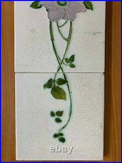 England vintage rare floral set antique art nouveau majolica tile 5pcs 6x6 Inch