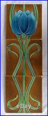 English Period Art Nouveau Triptych Floral Set Of 3 X 6 Inch Tiles