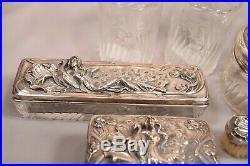 Exquisite Art Nouveau Sterling Silver Dresser Set Beautiful Women with Peacocks