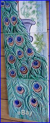 Extremely RARE Set of 5 TILE s PEACOCK Art nouveau Jugendstil Peranakan Majolica