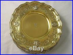 FINE SET 12 1914 Silver Gilt Dessert Plates Lambert 4141 gram Viscount Coronet G