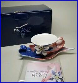 FRANZ Columbine Wildflowers CUP & SAUCER SET PORCELAIN FZ02082 NEW in BOX RARE