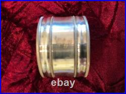 Fine Continental Antique Silver Set Of 6 Etched Napkin Rings In Casket Box