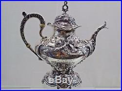 Fine Reed & Barton Sterling Les Six Fleurs Tea / Coffee Set Art Nouveau Antique