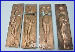 Fine Set of 4 BARBEDIENNE Bronze Plaques of Nymphs JEAN GOUJON c. 1870 antique