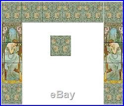 Fireplace full Set Tile Ceramic Alphonse Mucha Art Nouveau Reproduction #5