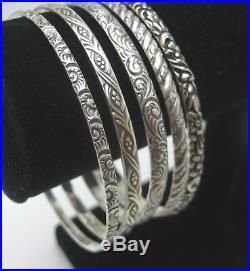 Five Ornate Repousse Antique Art Deco Pattern Bangle Bracelets Set