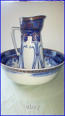 Flow Blue/Polychrome Pitcher & Bowl, AUBREY by Doulton-Striking Set