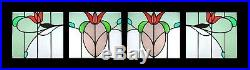 Flower Chain Set Of 4 Art Nouveau English Antique Stained Glass Windows
