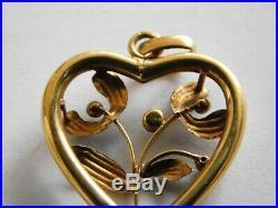 French 18ct Gold Heart Pendant, Mistletoe Set With a Pearl, Art Nouveau C1910