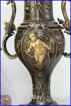 French Clock Set Art Nouveau Heavy Marble Statue Cherubs