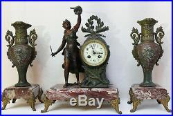 French Clock Set Art Nouveau Heavy Marble Statue Cherubs Movement Japy Freres