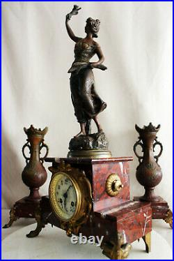 French Clock Set Art Nouveau Heavy Marble Statue G. Omer