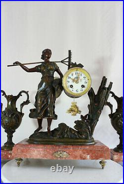 French Clock Set Art Nouveau Heavy Red Marble Statue Harvest