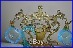 French Rare Dragon gothic Brass cave box blue LEGRAS glass set 1899