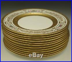 George Jones Crescent Heavy Gold Encrusted Set Of 12 Dinner Plates 10.5 Antique
