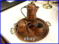 German Art Nouveau Arts Crafts Coffee Set Copper Brass Jugendstil Secessionist