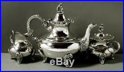 German Sterling Tea Set c1895 Gebruder Deyhle No Monogram
