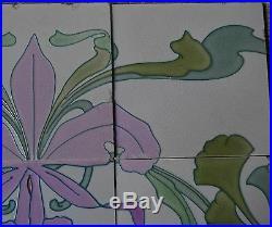 Germany Antique Art Nouveau Majolica 6-tile Set C1900