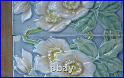 Germany M O & P F Antique Art Nouveau Majolica 4 Tile Set C1900