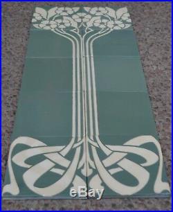 Germany Villeroy & Boch Antique Art Nouveau Majolica 10 Tile Set C1900