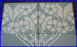 Germany Villeroy & Boch Antique Art Nouveau Majolica 8 Tile Set C1900