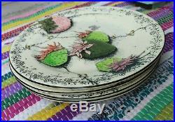 Gien France Fraises en Folie (Strawberry) 8.5 Side Salad Plate Set of 4