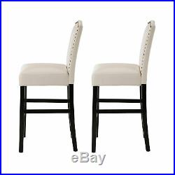 Glitzhome Set of 2 Leather Studded Bar Stool Counter Height Accent Dining Chair