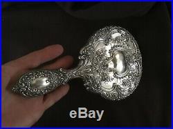 Gorham Sterling Silver #23 Round Hand Mirror and Brush Vanity Set Vintage 420.5G