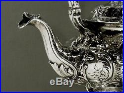 Gorham Sterling Tea Set Kettle & Stand 1907 Hand Decorated