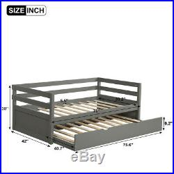 Gray Wood Daybed Twin Size Bed Frame with Trundle Frame Set Matress Fountdation