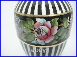 Grimwade's Royal Winton Black Striped Vases Art Nouveau Set of 2 Snowdrop Roses