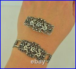 Guglielmo CINI of Boston Sterling Silver Art Nouveau Angel Bracelet & Brooch