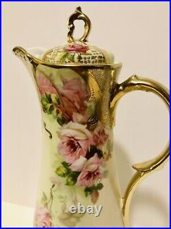Hand Painted Royal Vienna Chocolate Pot Tea Set, 6 Cups, Pink Roses, Heavy Gold