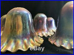 Handmade Iridescent Peacock Blue Glass Lamp Shades Art Nouveau Style Set of 9