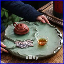 Handmade carved lotus design reservoir tea tray pottery tea table for tea set
