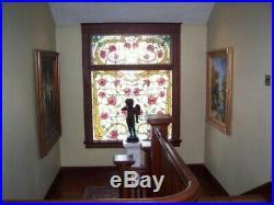 Huge, Vintage, Stained Glass Window Set Art Nouveau Style 59 W x 52 H