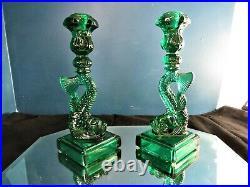 Imperial Glass Mma Metropolitan Museum Of Art Koi Fish Green Candlesticks Set 2