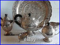 Indian Asian Sterling Silver Tea Coffee 7 Pcs Lids Repousse Hand Wrought Set 925