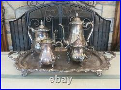 International Silver Co Countess Holloware Tea Coffee Set Pot Bowl Creamer Tray